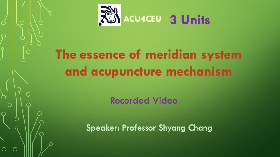 The essence of meridian system and acupuncture mechanism (V)