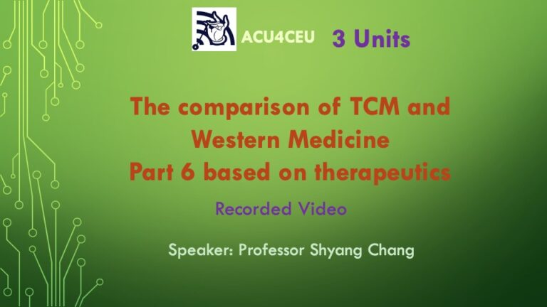The comparison of TCM and Western Medicine Part 6 based on therapeutics (V)